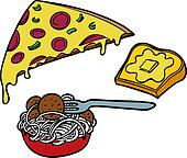 Pasta Pizza Garlic Bread