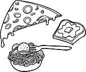 Pasta Pizza Garlic Bread Line Art