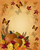 Thanksgiving Autumn Fall Border butterflies