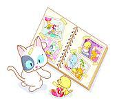 cat and chicks cartoon