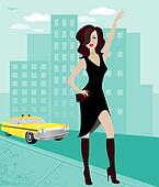 City Woman Hailing a Cab