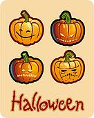halloween\'s drawing - four scary pumpkin heads of Jack-O-Lantern