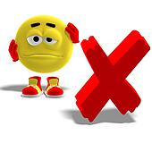 cool and funny emoticon say oh no to a x-mark
