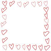 Valentines Border - Doodled Hearts