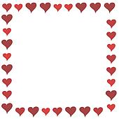 Red Cartoon Hearts Frame