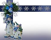 Christmas Snowman border blue ornaments