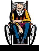 elderly handicapped man sitting on wheelchair