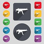 machine gun icon sign. A set of 12 colored buttons and a long shadow. Flat design.