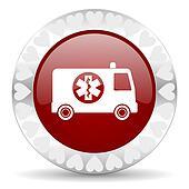 ambulance valentines day icon