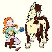 cartoon girl grooming pony