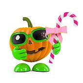 3d Pumpkin head has candy