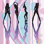 Dancing girls silhouettes on discoteque atmosphere