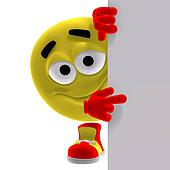cool and funny yellow emoticon says look here