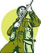world war two british Soldier with rifle