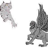 Jumping tiger and griffin.Vector illustration