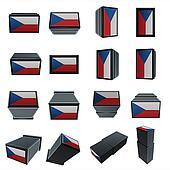 czech republic flags 3D Box with  mesh texture