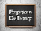 Business concept: Express Delivery on chalkboard background
