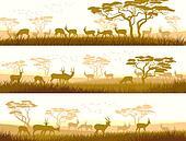 Wild animals in African savanna.