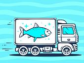 illustration of truck free and fast delivering fish to cu