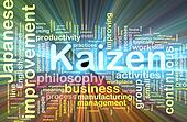 Kaizen word cloud glowing