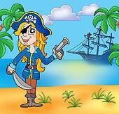 Pirate girl on beach 3