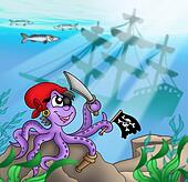 Pirate octopus near ship underwater