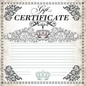 Gift certificate design with swirls and crown