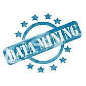 Blue Weathered Data Mining Stamp Circle and Stars design
