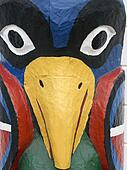 Totem pole art, closeup.