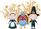 Pilgrims and turkey