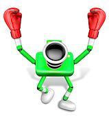 Green Camera Character Boxer Victory the serenade. Create 3D Camera Robot Series.