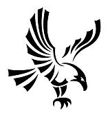 Black eagles isolated on white background for mascot or emblem design, also a tatoo.