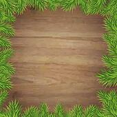 Fir Tree Branches And Wood Background