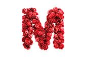 Red roses letter M, isolated on white background