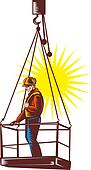 Construction worker on platform being hoisted up done in retro woodcut style.