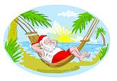 santa claus in hammock relaxing in tropical beach