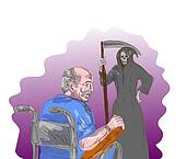 elderly man facing death, the grim reaper