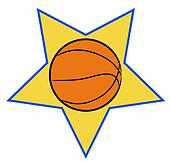 basketball illustration with yellow star background - sports concept -