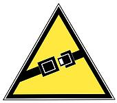 yellow seatbelt sign indicating to buckle up