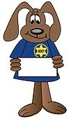 cartoon dog sheriff with badge holding blank sign