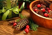 Pine cones,christmas balls and gifts