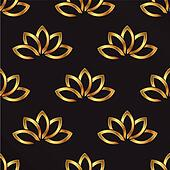 Golden Lotus plant pattern background. Seamless