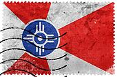 Flag of Wichita, Kansas, old postage stamp