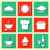 Restaurant cafe icons set