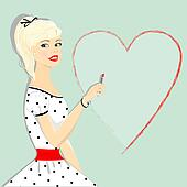 Retro beautiful girl with heart, pin-up