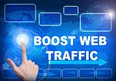 Touch screen digital interface of boost web traffic concept