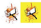 basketball ball and hoop