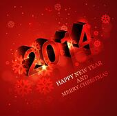 Vector Happy New Year 2014 reflection creative red colorful background