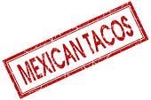 Mexican tacos red square grungy stamp isolated on white background