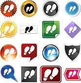 shoe print variety icon set